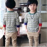 DB025 casual clothes 2015 summer trend t-shirt korean 100% cotton O-neck banana printed kids t-shirt