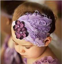 JPHAIR1504558 Baby Girl Kids Infant Peacock Feather Headband baby purple flower hair accessories 2015