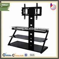 Hotel liquidation and furniture for mobile home glass tilting lcd tv stand RM021