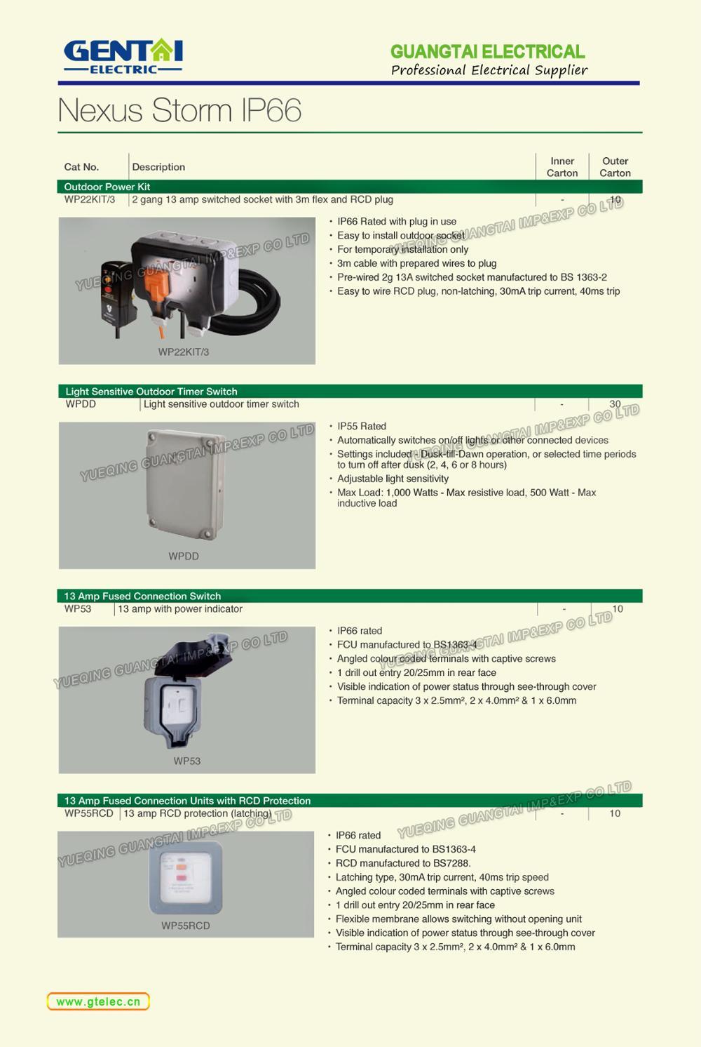 Bg Type Ip66 13a High Quality Weatherproof Junction Box 2gang 1gang Fused