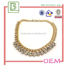 New arrived Custom Metal Golden Crystals Charm Necklace