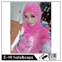 full cover bead decorate muslim hijab scarfs
