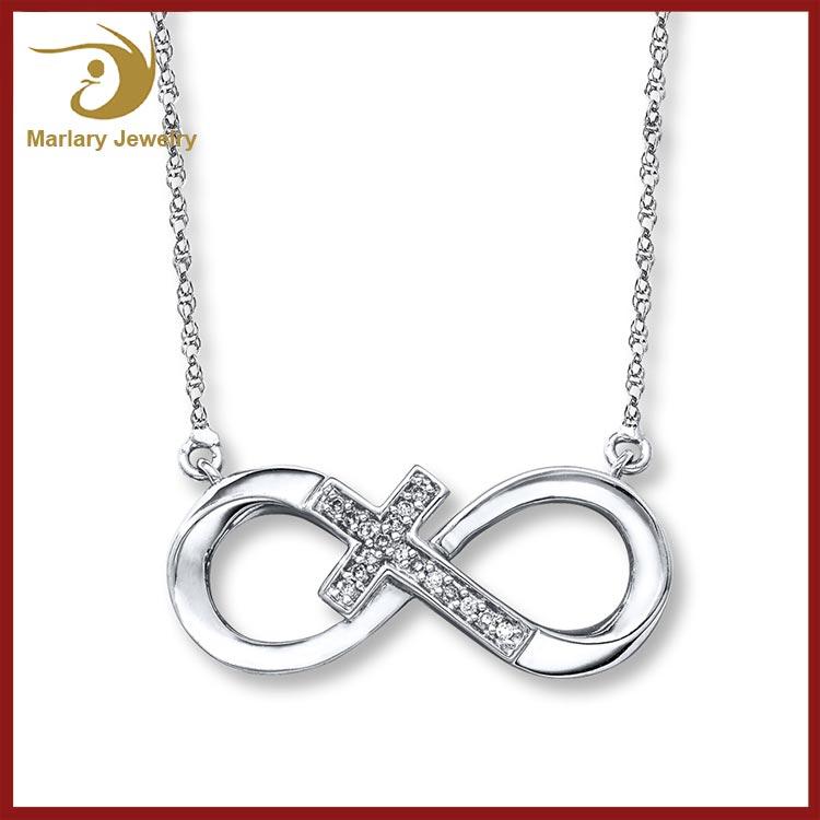 Нержавеющая Сталь Бесконечность Cross Подвески Старинное Серебро Боком Мини Крест Очарование Ожерелье
