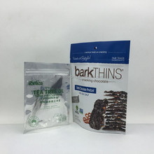 Stand up Chocolate pretzel plastic pouch with ziplock