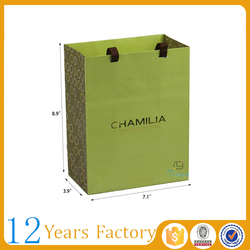 green customized paper ribbon tie gift bags