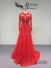 2015 red color long sleeve net fabric lace sexy evening dresses & wedding dresses