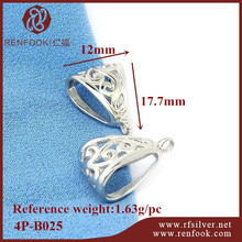 RenFook factory direct sale 925 sterling silver white gold bail pendant for DIY