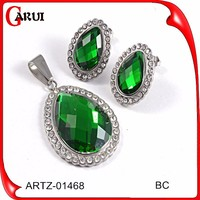 Hot New Glass and steel wedding jewelry sets green color & red color women wholesale jewelry set