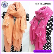 Fashion Printed TR Cotton Wide Hijab Scarves For Ladies
