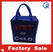 Silk printed promotional non woven cheap insulated hot and cold bag for food