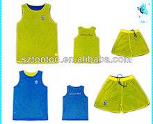 sublimada personalizado llanura verde y azul de baloncesto reversible trajes