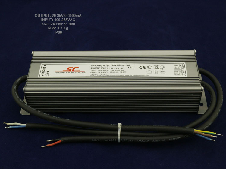 105W 3000mA constant current dimmable waterproof electronic led driver