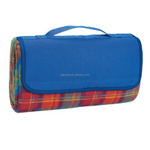 Royal Blue Flap with Orange Plaid Picnic Blanket JLD-77031