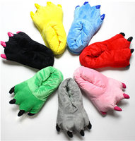 Wholesale 2015 Funny Cartoon Plush Slippers Animal Paw Warm Indoor Slippers Shoes