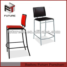 red and black PVC metal legs modern bar stool with 4 chrome legs made in china