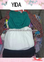 second hand clothing/used clothes, /fashion and shinning silk dress second hand fashion dress