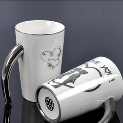 Creative couple of mug silver plating logo with handle
