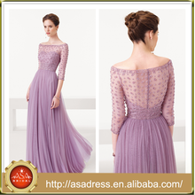 AED11 Charming Boat Neck See Through Three Quarter Sleeve Formal Evening Gown A-Line Tulle Beaded Evening Dresses