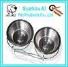 Double Elevated Raised Pet Bowl Dish Stand Feeder Food Water Stainless Steel Dog Bowl
