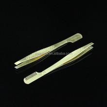 2015 Unique Design Stainless Steel Golden Girls Eyebrow Tweezers With Comb
