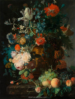 Handmade Classical Still Life Fruit Oil Painting On Canvas, Flowers In Glass And Fruits