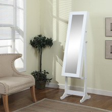White Wood Finish - Free Standing Cheval Mirror and Jewelry Armoire Display with LED Light and Key Lock - Organize Accessory