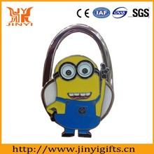 Despicable Me shaped metal bag hook with packing delivery in fast