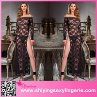 wholesale Black Floral Lace Sexy Pictures Of Long Gown Dress