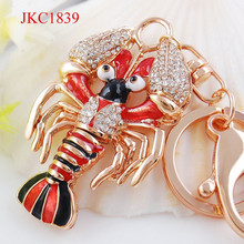 yiwu jewelry factory sale rhinestone enamel lobster shaped keychain