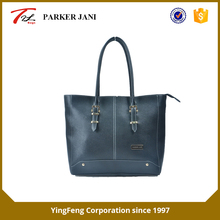 Fashionable cross pattern pu leather tote ladies handbag