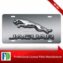 personalized aluminum license plate custom car tag Jaguar logo printed on faux chrome (NOT 3D)