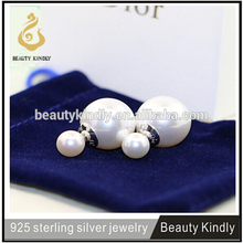 DIY Fashion New Design Solid 925 Sterling Silver Big Double Pearl Earring For Women