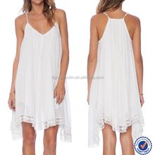 Snow white girls adult spaghetti strap hot trim sexy babydoll dress nice design casual women dress