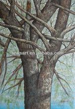 impression still life oil painting big tree