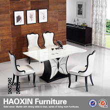 Modern Hot Selling one Leg base Solid Oak Dining Table marble rectangle Dining Table sets