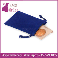 Custom color and size fashion drawstring velvet money pouch bags with custom printing