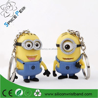 Paypal accepted make custom NEW Despicable Me 3D minions custom design made rubber band keychains