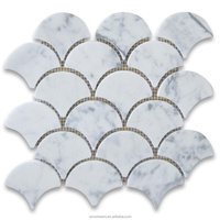 The high end Carrara White Carrera Marble Medium Fish Scale Fan Shaped Mosaic Tile polished for decoration