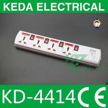 4 ways 3 pin uk or eu electrical extension socket