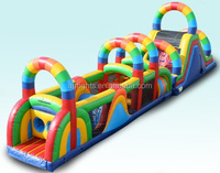 inflatable rainbow obstacle course/giant inflatable race course equipments