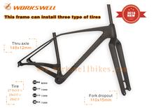 2016 workswell new design 29er plus 650b MTB 3.0 tire mountain bike carbon frame,new popular dirt road bike for marsh