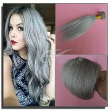wholesale price cheap silver hair no tangle no shedding straight silver hair extension