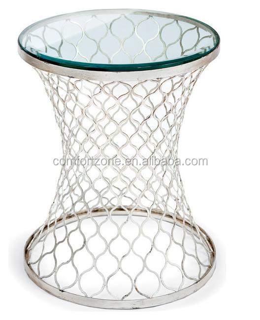 cn8014 현대적인 황금 메쉬베이스 디자인 투명 유리 상단 커피 ...