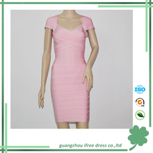 2015 new arriving pink short sleeve elegant bodycon woman bandage dress for Christmas party