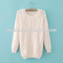 las mujeres de mohair de punto jacquard suéter suéter poncho de color blanco con encajes hechos a mano de manga larga