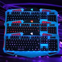 2015 New Backlit Ultra-thin Keyboard 3 color LED Ergonomic Gaming Black Keyboard USB Multimedia Backlight Keyboard Led