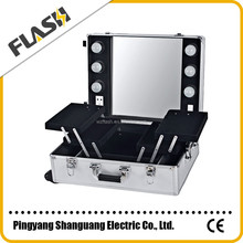 Hairdressing & beauty Aluminum Cosmetic Trolley Lights Cases