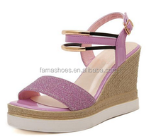 2015 newest high heel Grind arenaceous leisure sandal factory low price