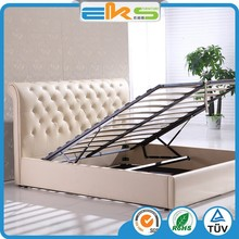 PU PVC LEATHER FABRIC SPACE SAVING BEDROOM GAS LIFT UP STORAGE BED