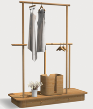 Modern Fashion Solid Wood Clothes Tree Stand Coat Racks With Drawer